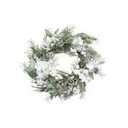 Gisela Graham Fir Wreath w White Snowy Flowers (40793)