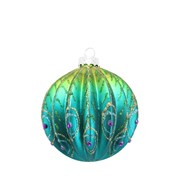 Gisela Graham Ribbed Glass Peacock Ball 80mm (00707)