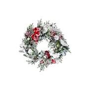 Gisela Graham Snowy Fir Wreath w Red/white Flowers (40719)