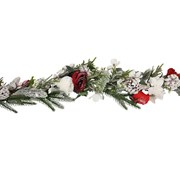Gisela Graham Snowy Fir/cone Garland w Red/white Flowers (40653)