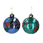 Gisela Graham Turquoise/blue Glass Ball Dec (00350)