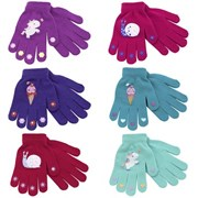 Girls Thermal Magic Gloves With Rubber Print (GL108)