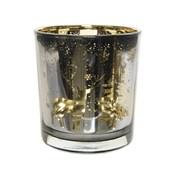Glass Tealight Laser Deer/trees Grey 8cm (640543)