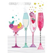 Champagne Glasses Congrats Card (IJC001W)