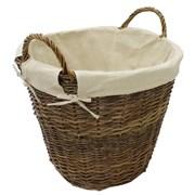 Jvl Dark Rnd Lined Log Basket Med (16-310)