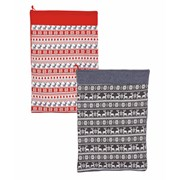 Knitted Scandi Gift Sack Red-grey 70x60c (PL185470)