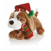 Musical Dog With Red+ Green Scarf 28cm (MB184509)