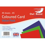 Owl Brand Coloured Card 40xsheets A5 (OBS312)