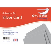 Owl Brand Silver Card 4sheet A4 (OBS491)