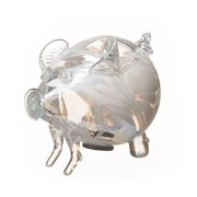 Amelia Art Glass Friendship Piggy Bank In White (PG3TWHI)