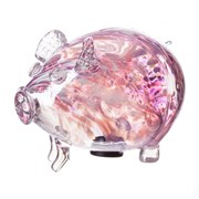 Amelia Art Glass Friendship Piggy Bank In White & Pink (PG3TWPV)