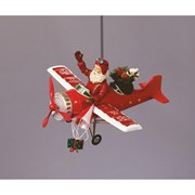 Santa In Red Aeroplane With Music & Led 28cm (MB052902R)