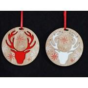 Gisela Graham Scandi Reindeer Headb Wood Disc (14341)