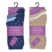 Rjm Ladies 3pk Cotton Blend Socks (SK515)