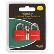 Sterling Locks 2pk Brass Padlocks 20mm (BPL22P)