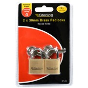 Sterling Locks 2pk Brass Padlocks 30mm (BPL432)