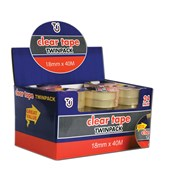 Tj Clear Tape 18mm x 40m Twin Pack (TJ03)