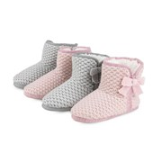 a7578e2ac Totes Isotoner Ladies Waffle Knit Booties Grey   Pink Sml (3187A)
