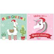 Mini Unicorn & Llama Christmas Cards 20s (X-25680-C)