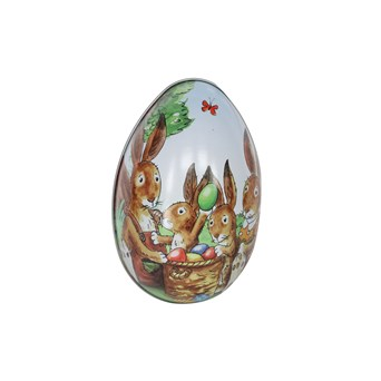 Gisela Graham Tin Egg Container With Bunny Picnic Scene (80858)