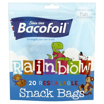 Baco Rainbow Resealable Snack Bags 20s (85B29)