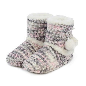 Totes Isotoner Ladies Bobble Knit Booties Pink & Grey Sml (3169A)