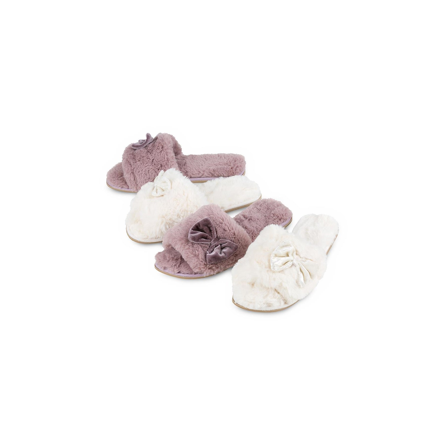 1273529b2 Totes Isotoner Ladies Textured Fur Open Toe Slippers Cream   Mink ...